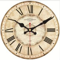 3079ea1f87ef 5 Patterns Vintage Wooden Wall Clocks Roman Number Design Silent Watches Room  Decoration Home Decor Large Wall Clocks