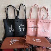 sacos messager couro venda por atacado-PU Compras Hangbag Paris Bolsas Lady Hangbag suave PU de couro preto de grande capacidade Totes saco de compras de alta qualidade Messager Bolsa Feminino