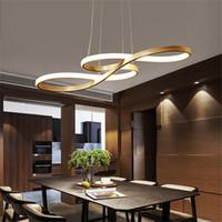 lámpara de suspensión negra al por mayor-Black White Gold Acabado Moderno Acrílico Creativo LED luces colgantes Cocina suspensión de sílice de aluminio cable de la lámpara colgante para comedor