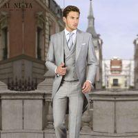 Wholesale flying lights sky for sale - Group buy Men s suit custom made light gray gentleman tuxedo wedding groom groomsmen dress men s suit three piece suit jacket pants vest