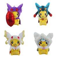 manteau animal enfants achat en gros de-7 styles poupée mignon pikachu de manteau 23cm jouets en peluche Pikachu cosplay poupée animale poupées enfants jouets cadeaux de Noël
