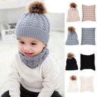 Wholesale ear muffs hats resale online - Baby Knitted Hat Scarf Set Fashion Winter Warm Boys Girls Pompom Fur Ball Hats Kids Knitted Scarves Neck Set TTA1283