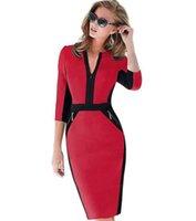 kadınlar için ön fermuar elbiseleri toptan satış-Artı Boyutu Ön Fermuar Kadın Iş Elbisesi Zarif Streç Elbise Büyüleyici Bodycon Kalem Midi Bahar Iş Günlük Elbiseler