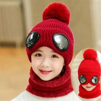 Wholesale crochet pilot hats for sale - Group buy 2019 Winter Knit Hat And Scarf Set Child Short Plush Inlayer Warm Pom Pom Cap Scarves Kids Pilot Aviator Hat Girls T MZ8394