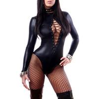 catsuit lenceria caliente al por mayor-2018 mujeres sexy pu cuero lencería monos erótico leotardo disfraces de goma flexible de látex caliente catsuit catwomen ropa de dormir porno s703