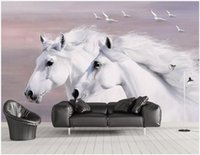 Wholesale black white horse paintings for sale - Group buy WDBH d wallpaper custom photo European style hand painted white couple horse flying birds Home decor living room wallpaper for walls d