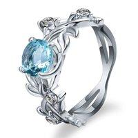цветок сапфир кольца оптовых-Мода сапфир серебро цвет кристалл цветок виноградный лист дизайн кольца для женщин Femme кольца Vintage Statement ювелирные изделия подарок любовника