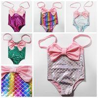 küçük kızlar yüzme takımları toptan satış-1-6 YıL Sıcak Satış Prenses Bebek Küçük Kızlar Mermaid Bandaj Bikini Set Mayo Mayo Mayo Mayo Plaj Yüzme Kostüm