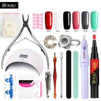 Wholesale manicure tool sets resale online - BUKAKI One Step Nail Gel Pen Nail Art Sets In Lacquer Hybrid Gel Varnish Lamp for Nails Manicure Machine Tools Kits