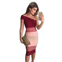 vino rojo al por mayor-Hashupha 2019 Nuevas llegadas Vestido de vendaje Sexy Club Bodycon Sin mangas Fiesta de noche Patchwork Invierno Elegante Vino Vestidos rojos