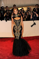 ingrosso abiti da sera beyonce-2019 New Fashion Hot Custom made Sexy Black and Gold Beyonce Mermaid Ricamo in rilievo Celebrity Dresses Abiti da sera Prom Dress