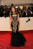 vestidos sexy beyonce venda por atacado-2019 New Fashion Hot Custom made Sexy Preto E Ouro Beyonce Sereia Bordado Frisado Celebridade Vestidos de Noite Vestidos de Baile Vestido