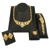 vergoldeten pfau armbänder großhandel-Für Frauen Kristall Pfau Halskette Armband Ohrringe Set Zirkon Vergoldet Braut Hochzeit Schmuck Sets