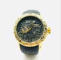 черный мальчик мужские спортивные часы оптовых-Роскошные Высокого Качества INVICTAS Кварцевые мужские Часы День Досуга Спортивные Часы Diamond Dragon Totem Силиконовый Пояс
