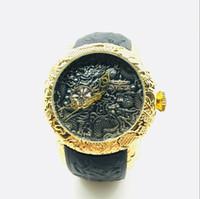 reloj de silicona al por mayor-Reloj de cuarzo INVICTAS de lujo de alta calidad para hombres Día de ocio Reloj deportivo Diamond Dragon Totem Cinturón de silicona