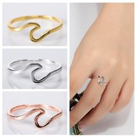 Wholesale simple golden rings for sale - Group buy 2019 simple style rings for Women Golden rose gold Wavy Silver ring g size to luxury designer jewelry men women Factory Price