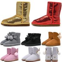 ingrosso stivali di neve alti-Designer Stivali in Australia Women Snow Boots Classic Tall Moda Bailey Bowknot desinger di inverno della ragazza, tenere al caldo des chaussures formato 36-41
