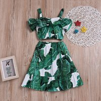 Wholesale leaves clothes resale online - INS Baby girls Leaves outfits children Leaf print Sling top skirts set summer kids Clothing Sets C5848