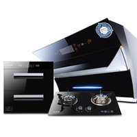 Wholesale gas stove resale online - gas stove set range hood gas stove disinfection cabinet set smoke stove eliminate three sets of household set three pieces