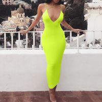 wickeln kleider für frauen großhandel-2019 Sommer Langes Kleid Solide Neon Grün Strandkleid Tunika Maxi Frauen Strap Spaghetti Wrap Vestidos Damen Party Kleider