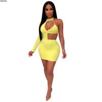 ingrosso abiti di corrispondenza neri gialli-2019 nuove donne estate cut out one spalla sexy bodycon scava fuori mini vestito midi club party notte sexy abiti abiti Z019