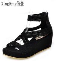 ingrosso i sandali coreani del pattino delle signore-XingDeng donne coreane dolci sandali retrò Ladies Cross Strap Platforms Sandali con zeppa Zip Shoes Plus Size 34-43