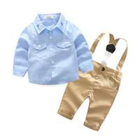 baby lätzchen stern großhandel-2019 jungen designer kleidung set kinder Neugeborenen Gentleman Kleid Set Neue säuglingskleidung Jungen Stern Shirt Trägerhose Zweiteilige Baby Boy Set