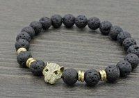 pulseiras de ouro buda venda por atacado-8mm vg422 leopardo prata ouro cobre micro micro pavimentar cz zircon zircônia cúbica pulseira preta lava vulcânica pedra Buda pulseiras de ioga