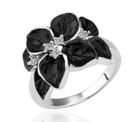 anéis de banda de cristal austríaco venda por atacado-Vendas Hot! 18 K Rose Gold / Platinadas Mulheres Camélia Do Casamento Elegante Banda Anéis Genuine Cristal Austríaco Bijuterias para As Mulheres