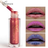 Wholesale lipstick tattoos online - NICEFACE Color Diamond Shine Metallic Lipstick Liquid Waterproof H Lasting Lip Gloss Paint Tattoo Sexy Nude Pigment DHL