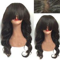 peluca negra ondulada flequillo al por mayor-Peluca llena del cordón del pelo brasileño con los flequillo pelucas onduladas del pelo humano ondulado del cuerpo del pelo de la Virgen de Glueless para las mujeres negras