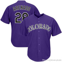 tailles de jersey de base cool achat en gros de-Maillot de Baseball Hommes Colorado 28 Nolan Arenado Rockies Pourpre cool base blanche 28 maillot Arenado taille m-xxxl