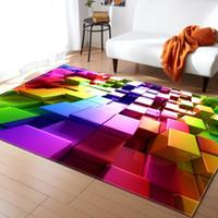 столы для спальни оптовых-Скандинавский стиль с геометрическим рисунком 3D-ковер Большой размер Гостиной Спальный стол Коврик и ковер Прямоугольный противоскользящий коврик