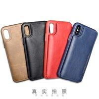 красные кожаные сотовые телефоны оптовых-PULOKA Оптовая черный красный синий коричневый PU кожаный чехол для мобильного телефона чехол для Iphone