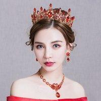 tiara krone gesetzt rot großhandel-Vintage Barock Red Strass Königin Tiara Krone Hochzeit Brautschmuck Set Perlen Swan Design Halskette Anhänger Ohrringe Bijoux