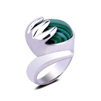 Wholesale natural malachite stone jewelry for sale - Group buy Natural Malachite Stone Setting Buddha Hand Claw Bless Gemstone Silver Ring Size Crystal Finger Ring for Women Men Jewelry