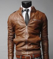 Wholesale Men Motorcycle Leather Jackets Newest Solid Business Casual Coats Autumn Winter Leather Clothing Jacket For Male