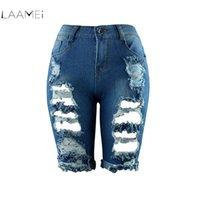 euro style hose großhandel-Laamei 2018 Sexy Frauen Euro Style Half Ripped Jeans Hohe Taille Street Hole Stretch Abgenutzte Hosen Slim Torn Knielangen Jeans