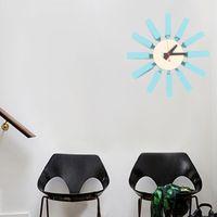diy spiegelverzierung groihandel-Heiße Verkäufe Hochwertige 3d Blau Block Uhr Sweep zweite Haus Dekoration Fernseh Hintergrund Mute Wanduhr Holz