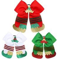 saç bantları çocuk tacı toptan satış-7 İnç Noel Elastik Bow Kauçuk Bant Kızlar Saç Halat Noel Boots Taç ilmek hairbands Saç Yüzük Çocuk Parti Headdress Şapkalar M604