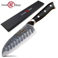 Wholesale professional chefs knives resale online - 5 Inch Santoku Knife Vg10 Japanese Damascus Stainless Steel Layers Japanese Damascus Kitchen Knives Professional Chef S Tools