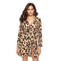 ingrosso mini vestito da stampa animale sexy-Leopard Summer Dress Chiffon Sundress Animal Print A-line 2019 Vestiti delle donne di nuovo anno Sexy Mini abiti eleganti Prendisole