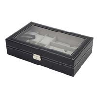 профессиональное хранение ювелирных изделий оптовых-Watch Container Box Jewelry Display Glasses Storage Watches 6+3 Grids Slots Organizer Transparent Cover  Professional Soft