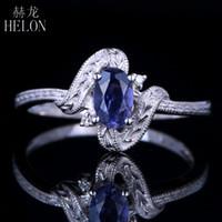 ingrosso antichi anelli di fidanzamento ovali-HELON Solid 14K Wihte Gold Flawless Oval 6 x 4mm 0.47ct Genuine Cordierite Diamonds Anello di fidanzamento Vintage Antique Jewelry