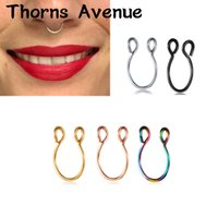 Wholesale rings for nose resale online - New Fashion Sliver Gold Color U Shape Hoop Nose Rings Piercing Titanium Stainless Steel Fake Nose Ring For Women Men Jewelry