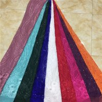 Wholesale embroidered nets for wedding dresses resale online - Beads Embroidered African Net Tulle Lace Fabric white For Noble Lady Bride Dresses Wedding Material Nigeria Sequins Mesh Lace
