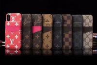 inserções de caixa de telefone venda por atacado-Couro premium mobile phone case capa para iphone xs max / xr x 8/7/6 plus inserir titular do cartão case para mulheres homens