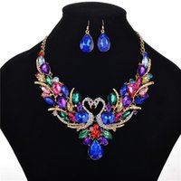 Wholesale mexican costumes women for sale - Group buy Women Costume Jewelry Crystal Statement Necklace and Earrings Sets Chunky Jewelry Set