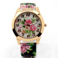 mira el precio de las chicas al por mayor-Venta caliente precio de la promoción Flor de moda Dial redondo estiramiento flexible banda reloj de pulsera de cuarzo reloj de pulsera mujer regalo de la muchacha