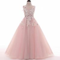 vestido de tul con cuentas de encaje para niños al por mayor-Pink Tulle Lace Transparent A Line Fairy Princess Pageant Vestido de niña de flores Perlas de cumpleaños para niños Vestido de dama de honor de boda Sin espalda
